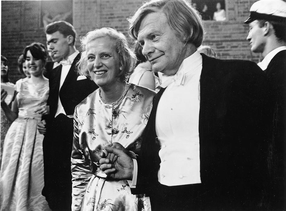 Dorothy Hodgkin and her husband Thomas at the Nobel ball